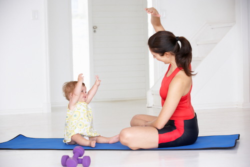 baby, mom, exercise class, workout